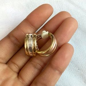 Gold and silver clip on earrings